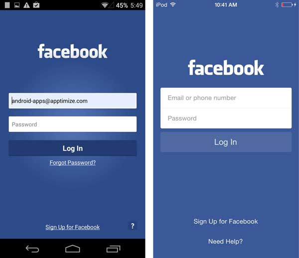 fb login mobile site
