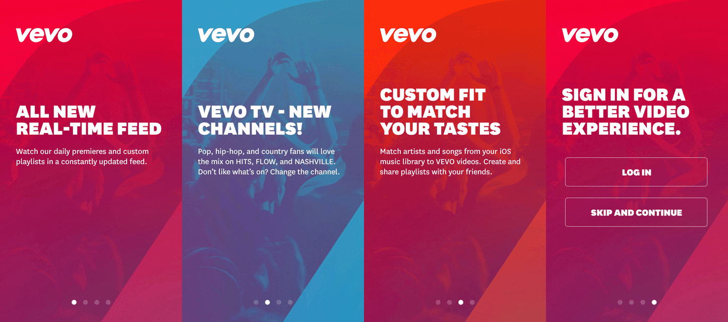 VEVO tutorial screen