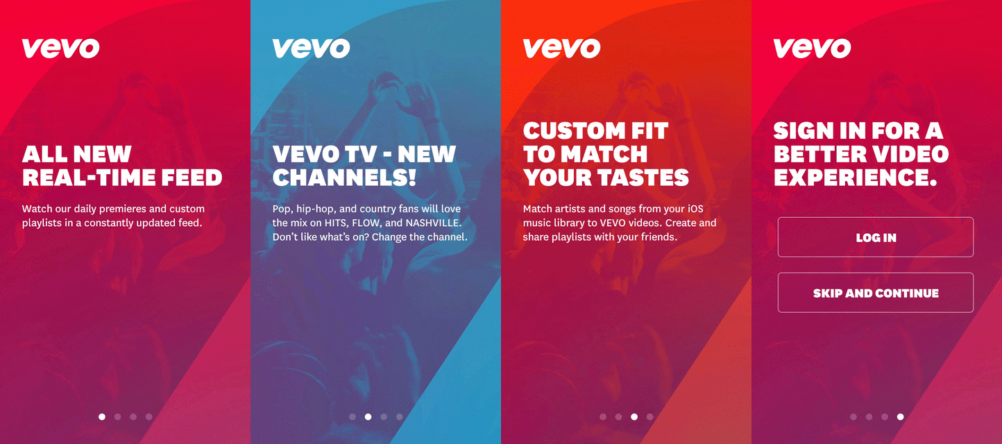 Vevo Tutorial Screens