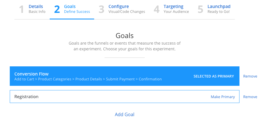 Screenshot showing an example experiment's Step 2 Goals page demonstrating a primary goal set as a Conversion funnel and a single event goal called Registration.