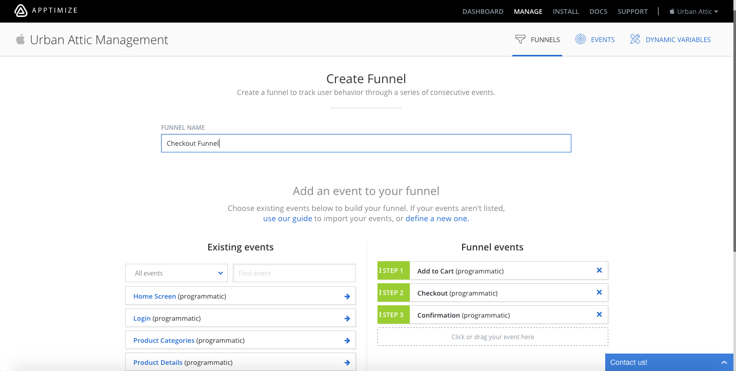 Example of defining a funnel by selecting 3 events to compose the funnel