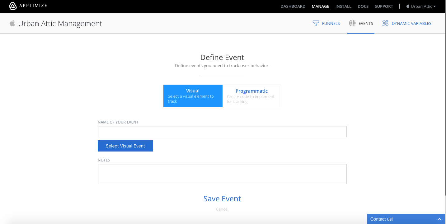 screenshot showing how to define a new apptimize visual event