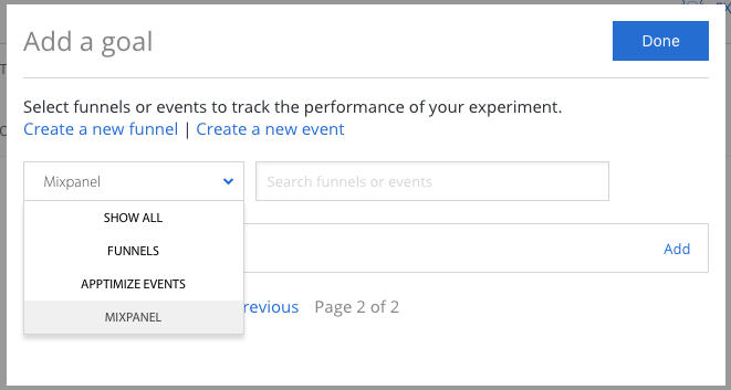 modal for adding a goal to the results page by selecting available funnels, apptimize events, or 3rd party events