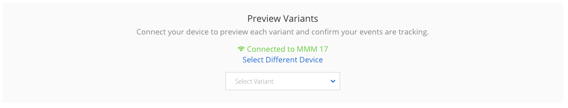 on Launchpad, preview variant shows device connected and has a drop down to select which variant to display on the device