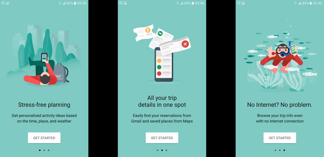GoogleTrips simplified onboarding