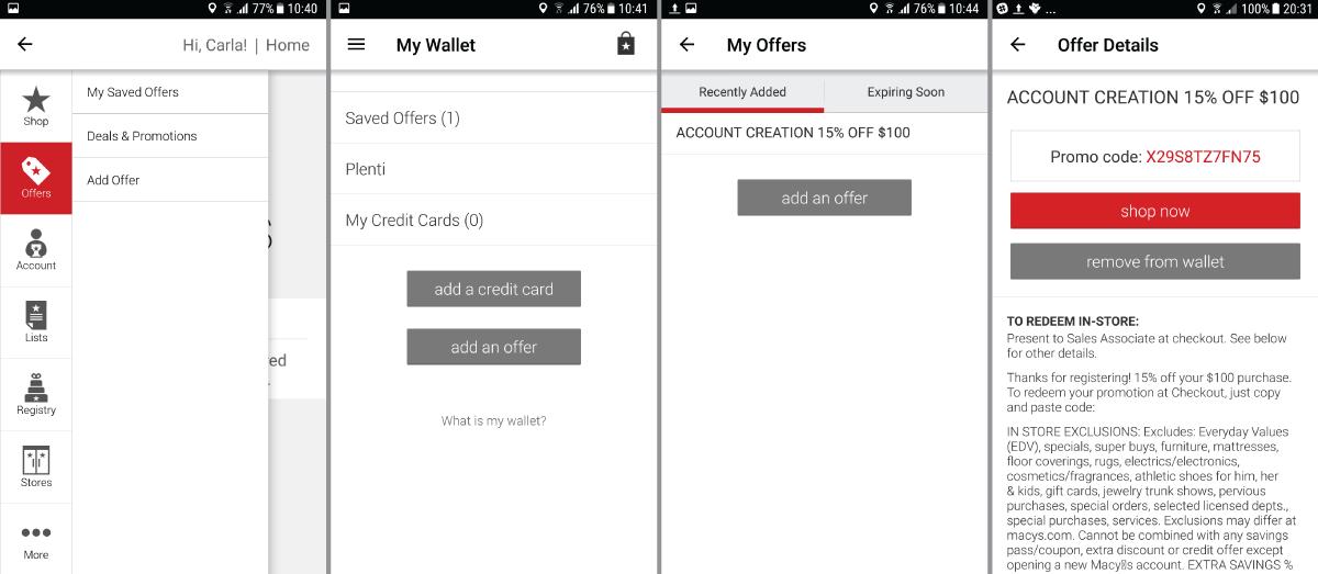 Macy's digital wallet