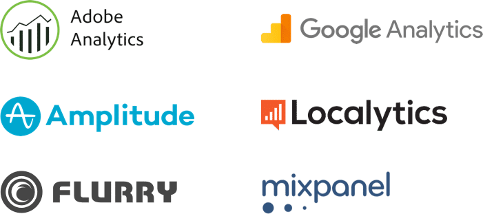 Automatically import events from mobile analytics providers: Amplitude, Flurry, Google Analytics, Localytics, Mixpanel, and Omniture / Adobe Analytics.